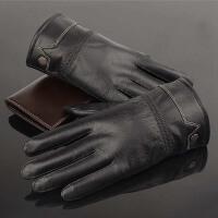 男士秋冬季骑车真皮手套男式绵羊皮户外加绒加厚薄款皮手套