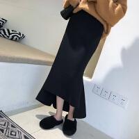 的裙子针织半身裙秋冬女2018新款黑色开叉包臀鱼尾字长裙 黑色 均码