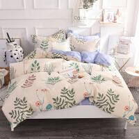 四件套全棉全棉床单被套1.8m床双人单人床上用品三件套学生宿舍女定制