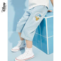 【2件2.4折价:71.7元】迪士尼童装男童七分牛仔裤2021夏季新款儿童洋气梭织时尚帅气裤子