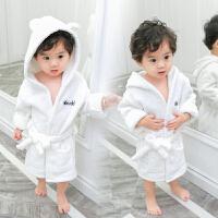 珊瑚绒儿童浴袍纯棉带帽长袖0全棉春秋1-2岁婴儿宝宝睡袍男孩睡衣