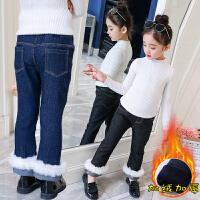2018冬装新款女童加绒加厚牛仔裤儿童女宝宝韩版洋气保暖冬款长裤