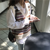 女学生马夹春季韩国学院风提花拼色V领针织马甲复古宽松套头毛衣
