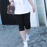 加肥加大码七分裤女装胖mm夏季薄款修身弹力小脚铅笔裤子
