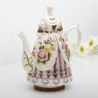 【新品】陶瓷欧式田园欧式咖啡壶创意瓷器茶具古典法式咖啡壶