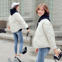轻薄棉衣女短款韩版宽松大码面包服冬季新款棒球服bf学生外套 米白色 S