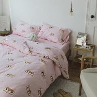 小清新全棉四件套裸睡针织印花超柔床上三件套被套床单少女 2m宽床(适用被芯220*240) 床单款