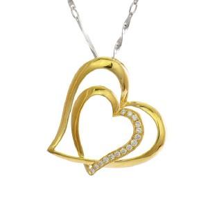 梦克拉 18K金钻石吊坠镂空双心黄色项坠 恋语 钻石吊坠女款 项链吊坠  可礼品卡购买