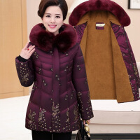 中老年女装冬装大码加绒厚中长款妈妈装棉衣棉袄冬季奶奶外套 紫色加绒 XL码(建议90-105斤)