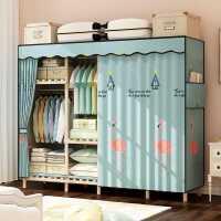 简易实木布艺衣柜现代简约组装家用卧室出租房用收纳松木小挂衣橱