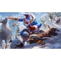 LOL海报壁纸 游戏动漫周边贴纸宿舍房间墙纸墙贴定制 深灰色 持胡萝卜的雪人