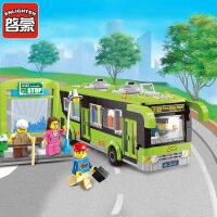 启蒙塑料积木男孩拼装玩具模型6岁-12岁儿童玩具城市公交车