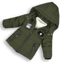 男童棉衣中长款加厚保暖中小童棉袄冬装儿童男孩棉外套 军绿色 120码(适合身高90-100)