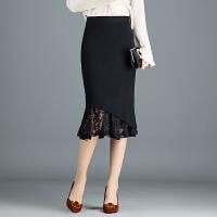 针织半身裙秋冬女2018新款中长款蕾丝包臀裙高腰裹裙一步裙冬季 黑色 均码 1尺9到2尺4
