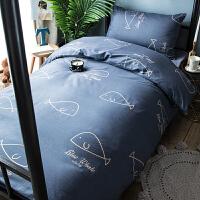 纯棉大学生宿舍床上用品三件套寝室12米09上下铺床笠床单人被套