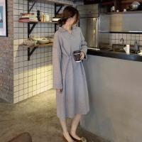 时尚polo领长袖连衣裙女春装新款韩版显瘦中长裙气质法式a字裙子