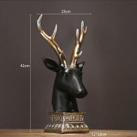 美式客厅书房玄关树脂麋鹿头摆件创意办公室家居装饰品 金角鹿头