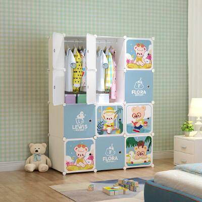 当当自营奇萌泰迪 12门2挂 加深款 白色 加厚收纳柜简易衣柜成人宝宝儿童衣柜储物柜 拆开组装过或影响二次销售的不予退货
