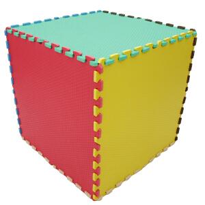 明德素色拼接纹大号环保耐磨PE泡沫地垫宝宝爬行垫60*60*1.2�M4片/包客厅卧室地板泡沫拼接地垫 爬爬垫水波纹