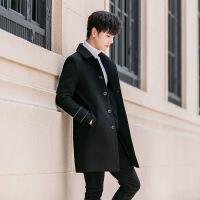 秋冬季新款男士风衣韩版潮流英伦风中长款毛呢大衣男学生外套