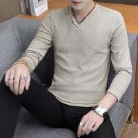 男士长袖加绒T恤V领打底衫韩版保暖秋衣服卫衣秋冬男装加厚针织衫
