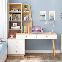 书柜书桌一体书架组合家用实木学习桌简约现代小户型学生写字桌