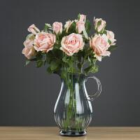 茶几北欧玻璃摆件客厅餐桌插花花器干花欧式茶几玻璃花瓶 高26cm(不含花)