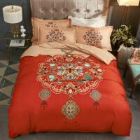 结婚四件套全棉纯棉加厚被套件婚庆大红色床单婚嫁床品婚房4件套