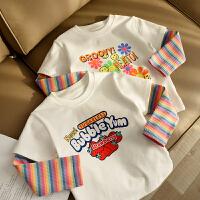 儿童纯棉假两件T恤 女童圆领长袖拼接打底衫 中童