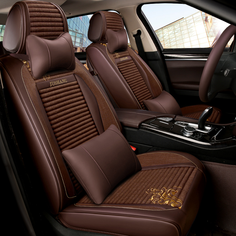 汽车坐垫 四季汽车座垫 全包围 棉麻布艺坐垫套座垫 汽车坐垫 汽车用品 18款新品正品保证