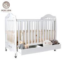 婴儿床 实木欧式松木宝宝床带滚轮多功能儿童床