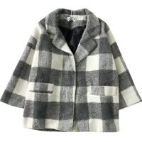 秋冬新款女装韩版毛呢外套中长款西装领格子开衫上衣 均码