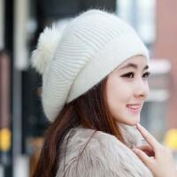 女士韩版可爱秋冬天兔毛帽子 韩版针织保暖帽 冬季毛线帽保暖护耳