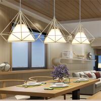现代简约餐厅吊灯咖啡厅书房工钻石吊灯时尚鸟笼铁艺吊灯客厅灯饰