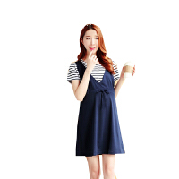慈颜短袖孕妇裙夏装时尚韩版孕妇连衣裙假两件孕妇装WML030