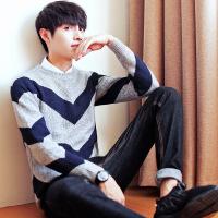 冬季男士毛衣加绒加厚针织衫韩版圆领打底衫男装潮流个性保暖线衣