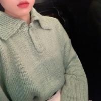 春装韩版宽松百搭糖果色polo领纽扣毛衣女长袖套头短款针织衫外套