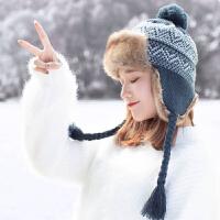帽子女冬针织毛绒雷锋帽加绒加厚保暖护耳防风骑车东北棉帽滑雪帽