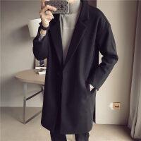 毛呢大衣男中长款韩版英伦风冬季新款修身风衣学生加厚呢子外套潮 8006 黑色