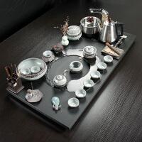【优选】整块乌金石茶盘功夫茶具套装家用简约全自动电热磁办公室茶台 29件