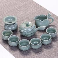 家用整套哥窑陶瓷茶具套装汝窑功夫茶杯冰裂釉茶壶茶道盖碗礼盒