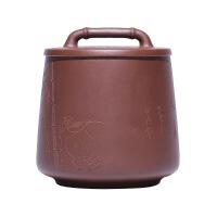 家用紫砂茶叶罐 中号陶瓷密封罐普洱绿茶红茶存储罐 小号茶罐礼盒装 怡然自得茶叶罐