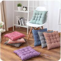 格子磨毛坐垫办公室加厚椅子坐垫条纹印花餐椅垫