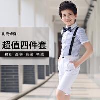 花童主持人男童钢琴演出服装背带裤表演套装夏小男孩合唱儿童礼服