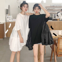 三木子快时尚女装~夏装新款韩版白色仙女网纱拼接连衣裙