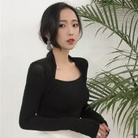 女装新款时尚性感低领打底衫长袖内搭紧身低胸挂脖显瘦T恤上衣潮