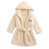 婴幼儿童柔软法兰绒浴袍家居服装双层加厚带帽浴衣珊瑚绒睡衣睡袍定制 双层米白