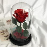 永生花花材diy材料包工具包木盒玻璃罩成品母亲节情人节礼物礼盒 酒红色 单支玫瑰材料包