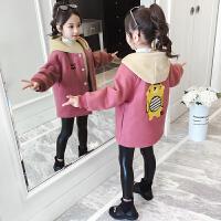 2019新款洋气韩版连帽外衣女童秋冬装毛呢时髦加厚外套