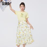 森马套装女镂空破洞纯棉短袖T恤浪漫印花蝴蝶结半身裙2021夏新款